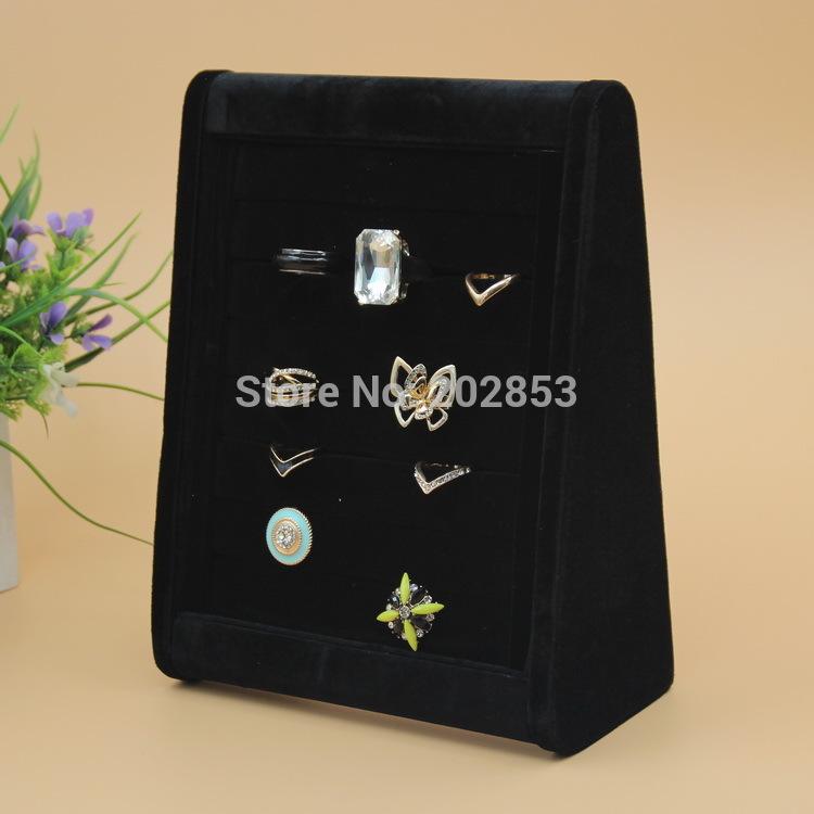 1pc/Lot 2015 New Black Velvet Jewelry finger ring display holder stand show rack wood fabric earring ear pendants earbob shelf(China (Mainland))