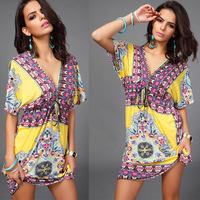 2015 New Female European Plus Size Sexy Women V-Neck Dress Beach Milk Print Dress Embroidery Backless Half Sleeve Dreees LG012