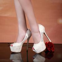 Black lace heels High quality women ultra high heels 14 cm wholesale women sexy open toe shoes women evening pumps