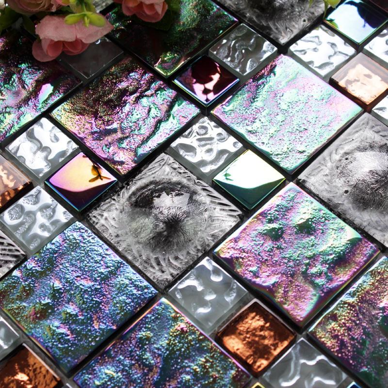 Black iridescent metallic glass tile backsplash deco mosaics art hat design kitchen tile bathroom mirror wall tub fireplace tile(China (Mainland))