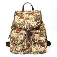 Women bags new 2015 fashion backpack Canvas cartoon printing bear women Shoulder bags Hot sale Mini School bag bolsas femininas