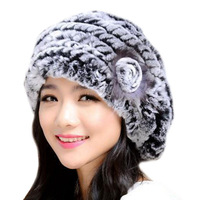 Winter Rabbit Fur Hat Fashion Floral Warm Cap Knitting Woolen Yarn Rex Rabbit Headwear Casual Gorra LQ11022 New Arrival 2014
