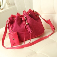 Europe and America fashion new nubuck leather Tassel bucket bag Casual Shoulder Messenger Bags 2014  hg0351