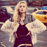 Luxury new 2014 autumn Winter women handmade beading faux fur coat jacket sexy warm outerwear