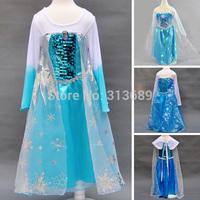 Retail 2015 Summer Child Clothing Children Clothes Girls Dress Baby Princess Long-sleeved Frozen Dresses Children Clothing m04