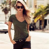 Army Green V-neck short-sleeve slim female t-shirt XS-2XL Spring Summer Womens Shirt