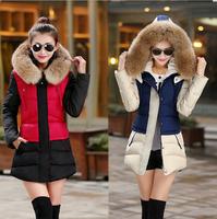 2014 New Hoodie winter parka women's wadded fur coat outerwear women long plus size thick cotton-padded jacket overcoat L-XXL