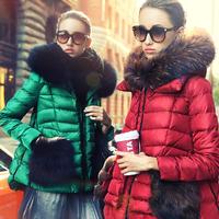 Prase women's 2014 down coat raccoon fur down coat a slim female short design outerwear