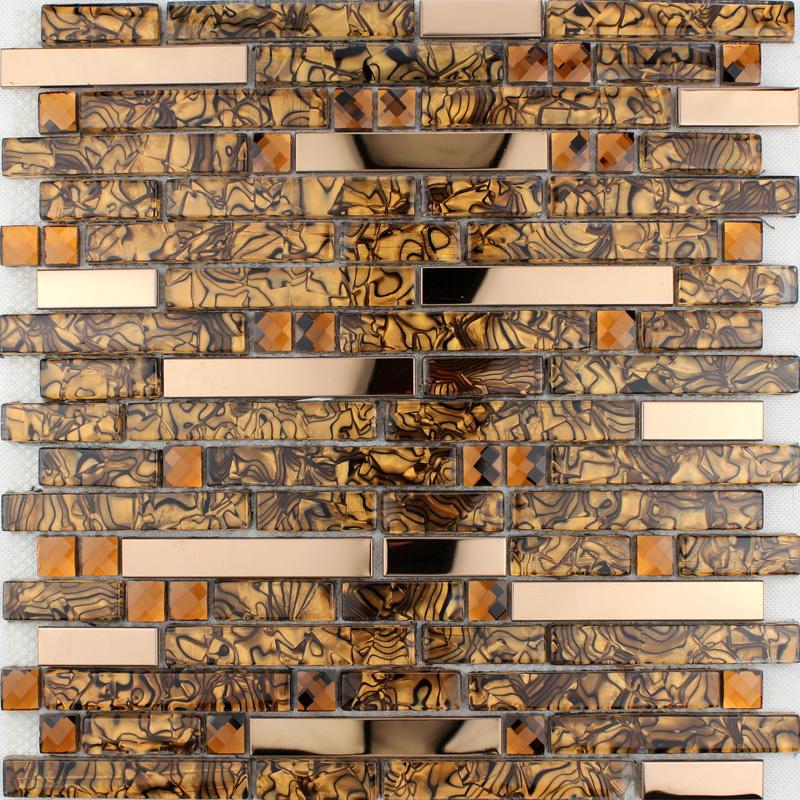 Keukenplaten : Stainless Steel and Glass Tile Backsplash
