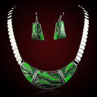 QMODE 2015 Hot Selling Crystal Czech Rhinestone Jewelery Set for Women Necklace & Earrings Brand Geometic Drop Oil Jewelry Set
