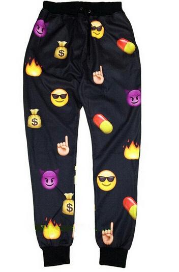 East Knitting 2015 Newest Winter Emoji joggers Loose Punk trousers sportswear Unsex Drop Shipping(China (Mainland))