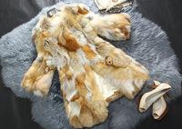 Winter autumn real natural fox fur coat for elegant women warm striped womens coats jackets slim big size ladies overcoat parka