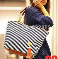2014 Hot Sale European Style Branded Bag Tassel Stripe Women's Bags Women Handbag Shoulder Bag Casual Bag Tote Canvas Bag