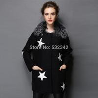 2014 large size women's winter woolen coat lamb's wool collar outwear coat l,xl,xxl,xxxl.xxxxl,xxxxxl