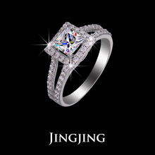 Women s Split Shank Micro CZ pave Marriage Rings with 1 ct Princess Cut Floating Halo