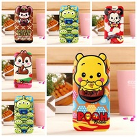 3D Cute cartoon minnie mickey ,winnie pooh stitch stand leather wallet case for samsung galaxy note 4 note4 n9100 free shipping