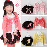 1 Set/Lot High Quality Lovely Baby Girls Clothing Sets Pearl Coat+T shirt+Lace Skirt 3Pcs Autumn Girls princess Set kids clothes