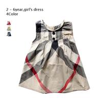 summer dress babi Girl dress new free ship for 2-6 age big grid Sleeveless button Girls Princess 100%cotton Kids Casual Dress