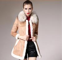 New 2014 Fashion Winter coat Women High Quality warm Raccoon Fur Coat Medium-Long Cotton-Padded Ladies winter jacket Plus Size