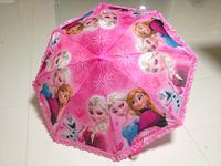 2015 New Arrival Children  Forzen Umbrella Kid's Umbrella Lovely Pattern Waterproof High Quality Pink & Blue Lace