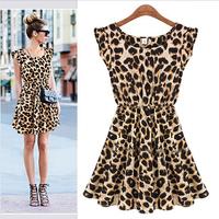 2015 Women's Dresses Sweater Elegant Classical Vintage Sleeveless Pinup Leopard Dress Loose Casual summer Mini Print Vestidos