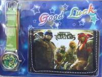 3pcs/lot Teenage Mutant Ninja Turtles Lovely kids Cute Cartoon Watch and Wallet Children Watch WristWatch High Quality