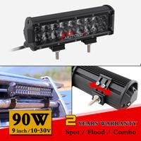 9 inch 90W Lens LED Work Light Bar 12V 24V Spot Flood Led Driving Lights For Off Road 4WD Truck Tractor Worklight Save on 100W
