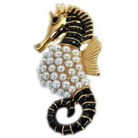 Delicate White Pearl Black Enamel Sea Horse Brooch Pin