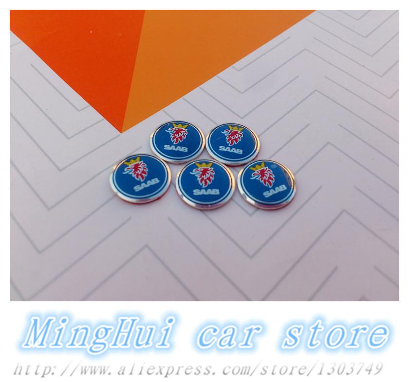 5pcs/lot 1.2cm SAAB Car logo Auto Key Fob Emblem Badge 3D Sticker Auto accessories Free shipping(China (Mainland))