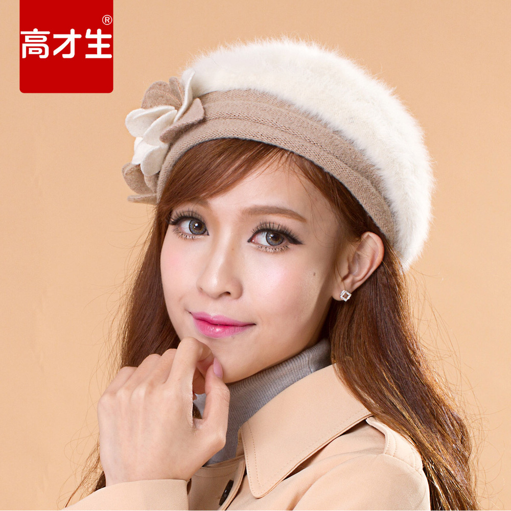 Hot selling fashion products flowers warm rabbit fur beret hat head ear warmers wholesale(China (Mainland))