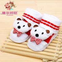 3 pairs Free shipping Baby Socks newborn lot With Animal Baby Outdoor Shoes Baby Anti-slip Walking Children Sock kid's Gift