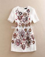 New 2015 spring women luxury brand vintage fashion handmade beading white dress elegant sexy sheath mini jacquard print dresses