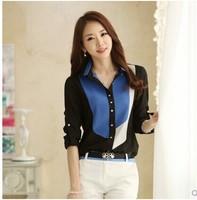 Women Stitching Shirt S-2XL Plus Size Women long sleeve Blusas Roupas Chiffon Shirt Tee Top blouse