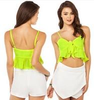 Lady Lemon Green Flounced hem Adjustable shoulder strap Solid color vest Decorative knot XS-2XL B0831