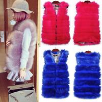 2014 Crazy Discount Women Faux Fur Vest Winter Long Vest Sleeveless Luxury Fur Coat  fashion Slim Fur Vest