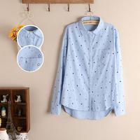 new 2014 Spring Auturn women blouse long-sleeve shirt printed star pentagram graffiti cotton casual shirt lapel