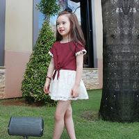 New Summer Children Clothing Set O-neck T-shirt+Flower Pattern Lace Tutu Skirt Baby Kids Clothes Princess Girls Dress Suit CS326