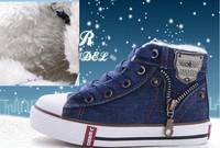 2014 Hot Sale Euro Size 25-37 Children Fashion Shoes Kids Canvas Sneakers Boys Girls Flat Denim Boots Zipper jeans sports shoes