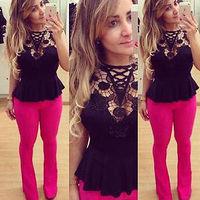 2014 Summer Dress Sexy Women Hollow Out Lace Cami Sleeveless T Shirt Tee Shirt Top Blouse