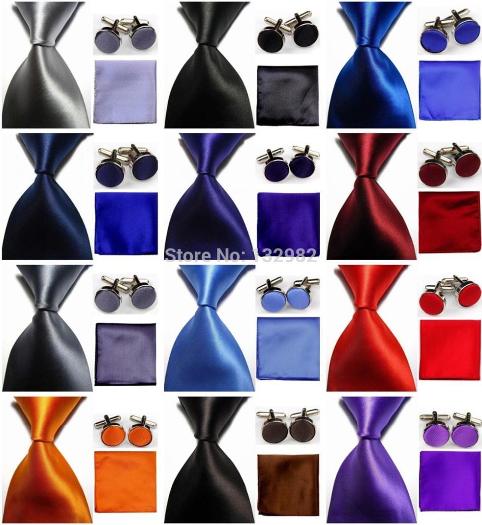 "4""/10cm Wide Mens Accessories Solid Classic Business Silk Tie Set Hanky Handkerchief Cufflinks Necktie for Men red black blue(China (Mainland))"