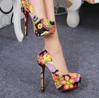 women pumps high heels European and American OL fine with platform shoes Symphony cloth fashion high heels elegant pumps women