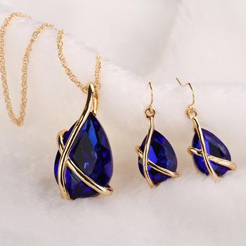 Женщины комплект ювелирных изделий 18 К позолоченные мода серьги ожерелья Aapphire кристалл африки нигерии женщина свадебные аксессуары