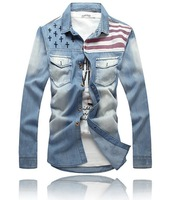 New American flag jeans jacket for men Fashion motorcycle jeans long sleeves shirt do old jeans denim coat #LJF77