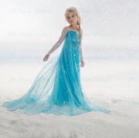 2014 New Style Children Girls Frozen Dress Kids baby girls Elsa Anna beautiful princess Dress Children's Clothing,12 kinds style
