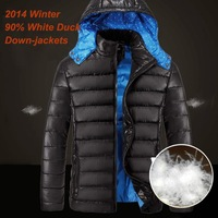 Famous Brand 2014 Winter Duck Down Jacket Men 90% White Duck Down-Winter Jackets Detachable hood Down Coat + Free Shipping
