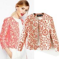 2015 European Style Open Stitch Women Short Suit Coat Famous Brand Floral Print Jacket O-neck Slim Spring Autumn Winter  CL2322