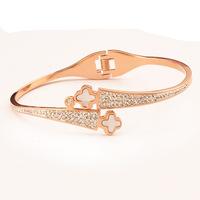 SYB111 2015 New 14K rose gold Clover Stainless steel Bangles Bracelets for women Christmas gift Pulesiras