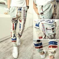2015 New Design Brand Those days Pants men casual decorated harem men pants mens joggers long style floral print pants