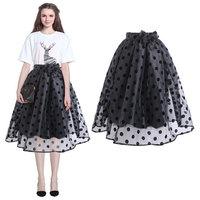 2015 New Fashion Sheer Organza Polka Dots Ball Gown High Waist Knee-Length Skirt With Sash Women Knee-Length Skirt 141206