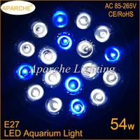 1 PCS 12White 6 Blue E27 54W SMD LED Aquarium Light 18x3W LED White Blue Fish Tank Pond Plant Grow Lighting Aquario Light